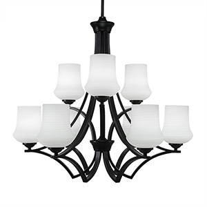 Zilo Matte Black 29-Inch Nine-Light Chandelier with Zilo White Linen Glass