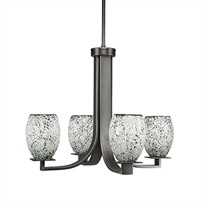 Apollo Graphite 22-Inch Four-Light Chandelier with Black Fusion Glass