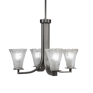 Apollo Graphite 23-Inch Four-Light Chandelier with Frosted Crystal Glass