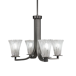 Apollo Graphite 23-Inch Four-Light Chandelier with Italian Ice Glass