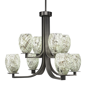 Apollo Graphite 28-Inch Eight-Light Chandelier with Natural Fusion Glass