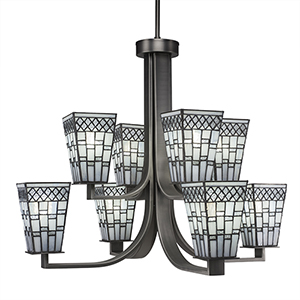 Apollo Graphite 27-Inch Eight-Light Chandelier with Square Pewter Tiffany Glass