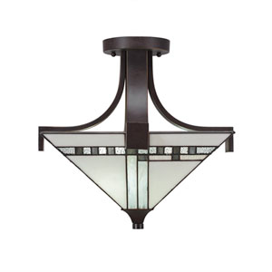 Apollo Dark Granite Two-Light Semi Flush