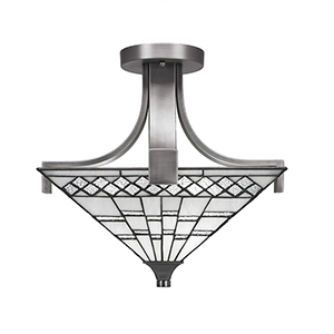 Apollo Graphite 15-Inch Two-Light Semi Flush Mount