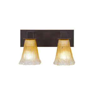 Apollo Dark Granite Two-Light Bath Vanity with Fluted Amber Crystal Glass
