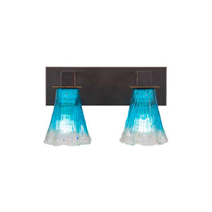 Apollo Dark Granite Two-Light Bath Vanity with Fluted Teal Crystal Glass