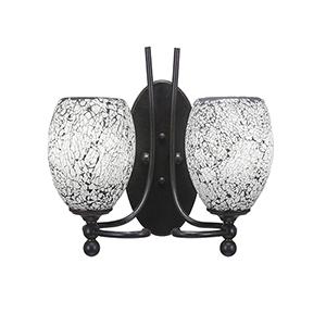 Capri Dark Granite 13-Inch Two-Light Wall Sconce with Black Fusion Glass