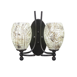 Capri Dark Granite 13-Inch Two-Light Wall Sconce with Natural Fusion Glass