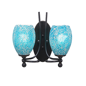 Capri Dark Granite 13-Inch Two-Light Wall Sconce with Turquoise Fusion Glass