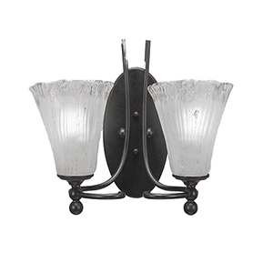 Capri Dark Granite Seven-Inch Two-Light Wall Sconce with Frosted Crystal Glass