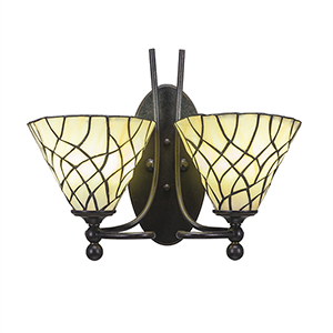 Capri Dark Granite 15-Inch Two-Light Wall Sconce