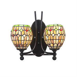 Capri Dark Granite 13-Inch Two-Light Wall Sconce with Rosetta Tiffany Glass