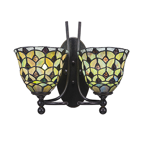 Capri Dark Granite 14-Inch Two-Light Wall Sconce with Crescent Tiffany Glass