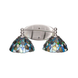 Capri Brushed Nickel Two-Light Bath Vanity with Blue Mosaic Tiffany Glass