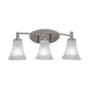 Capri Brushed Nickel 22-Inch Three-Light Bath Vanity with Frosted Crystal Glass
