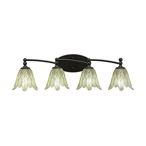 Capri Dark Granite 31-Inch Four-Light Bath Vanity with Vanilla Leaf