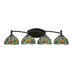 Capri Dark Granite 32-Inch Four-Light Bath Vanity with Kaleidoscope Tiffany