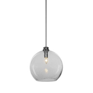 Kimbro Brushed Nickel One-Light Pendant with Smoke Bubble Glass Shade