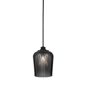 Cordova Matte Black Nine-Inch One-Light Mini Pendant with Smoke Textured Glass Shade