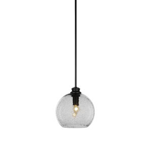 Kimbro Matte Black One-Light Mini Pendant with Smoke Textured Glass Shade