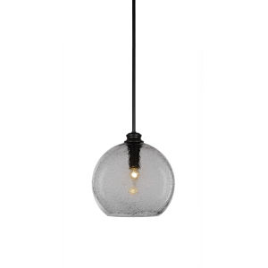 Kimbro Matte Black One-Light Pendant with Smoke Bubble Glass Shade