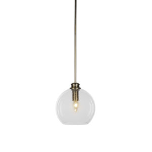 Kimbro New Age Brass One-Light Mini Pendant with Clear Bubble Glass Shade