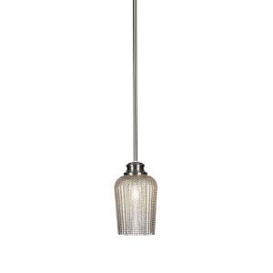 Cordova Brushed Nickel One-Light 9-Inch Stem Hung Mini Pendant with Silver Glass