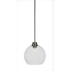 Kimbro Brushed Nickel One-Light 10-Inch Stem Hung Mini Pendant with Clear Bubble Glass