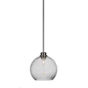 Kimbro Brushed Nickel One-Light 10-Inch Stem Hung Mini Pendant with Smoke Bubble Glass