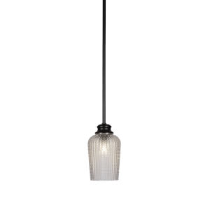 Cordova Matte Black One-Light 9-Inch Stem Hung Mini Pendant with Clear Textured Glass