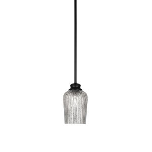 Cordova Matte Black One-Light Mini Pendant with Silver Textured Glass Shade