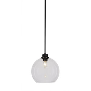 Kimbro Matte Black One-Light 10-Inch Stem Hung Mini Pendant with Clear Bubble Glass