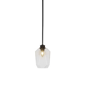 Rocklin Matte Black One-Light Mini Pendant with Clear Ribbed Glass Shade