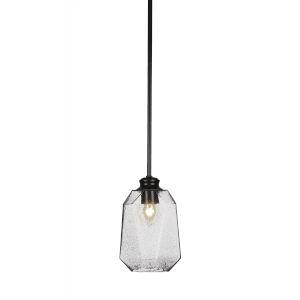 Rocklin Matte Black One-Light 10-Inch Stem Hung Mini Pendant with Smoke Glass