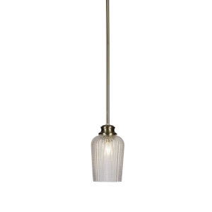 Cordova New Age Brass One-Light 9-Inch Stem Hung Mini Pendant with Clear Textured Glass