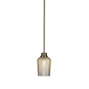 Cordova New Age Brass One-Light 9-Inch Stem Hung Mini Pendant with Silver Glass