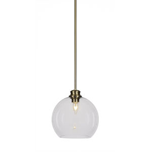 Kimbro New Age Brass One-Light 10-Inch Stem Hung Mini Pendant with Clear Bubble Glass