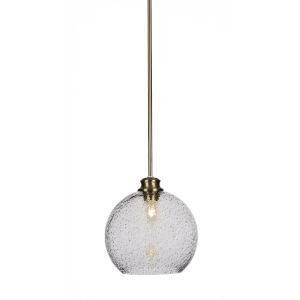 Kimbro New Age Brass One-Light 10-Inch Stem Hung Mini Pendant with Smoke Bubble Glass