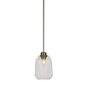 Rocklin New Age Brass One-Light 10-Inch Stem Hung Mini Pendant with Clear Bubble Glass
