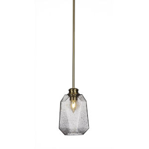 Rocklin New Age Brass One-Light 10-Inch Stem Hung Mini Pendant with Smoke Glass