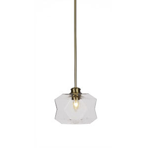 Rocklin New Age Brass One-Light 8-Inch Stem Hung Mini Pendant with Clear Bubble Glass