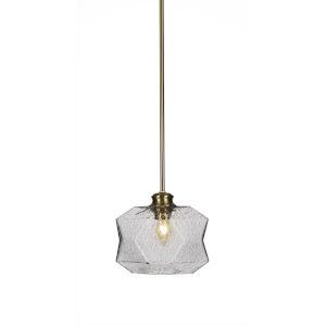 Rocklin New Age Brass One-Light 8-Inch Stem Hung Mini Pendant with Smoke Glass