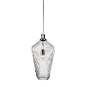 Carina Brushed Nickel One-Light 20-Inch Stem Hung Pendant with Clear Ribbed Glass