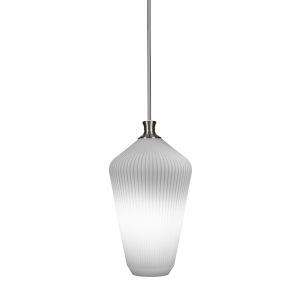 Carina Brushed Nickel One-Light 20-Inch Stem Hung Pendant with Opal Frosted Glass