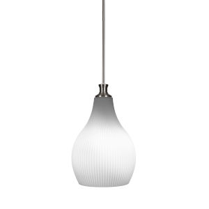 Carina Brushed Nickel One-Light 12-Inch Stem Hung Pendant with Opal Frosted Glass