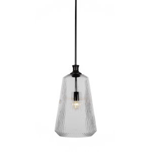 Carina Matte Black One-Light 18-Inch Stem Hung Pendant with Clear Ribbed Glass