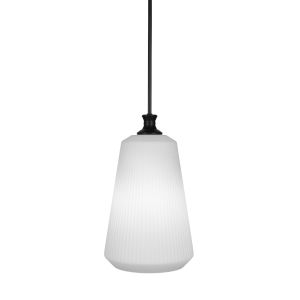 Carina Matte Black 11-Inch One-Light Pendant with Opal Frosted Glass Shade