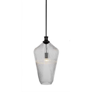 Carina Matte Black One-Light 20-Inch Stem Hung Pendant with Clear Ribbed Glass