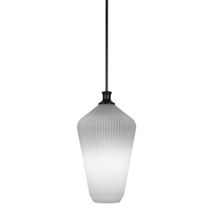 Carina Matte Black One-Light 20-Inch Stem Hung Pendant with Opal Frosted Glass
