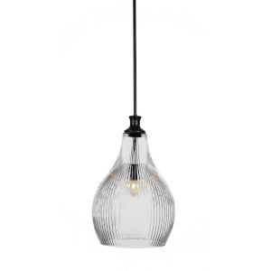 Carina Matte Black One-Light 19-Inch Stem Hung Pendant with Clear Ribbed Glass